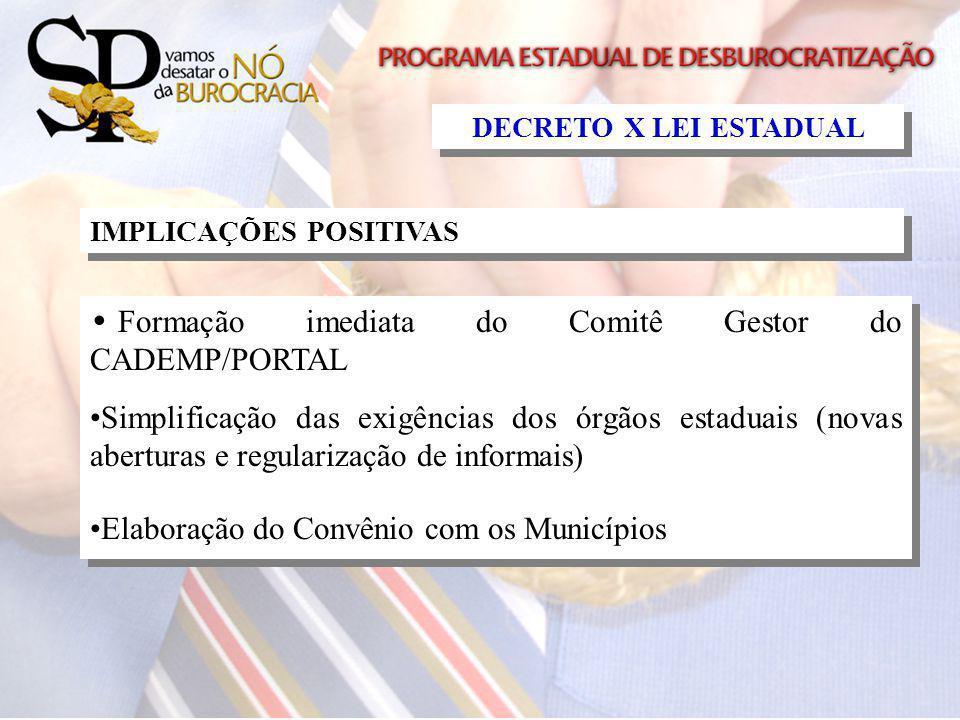 Formação imediata do Comitê Gestor do CADEMP/PORTAL