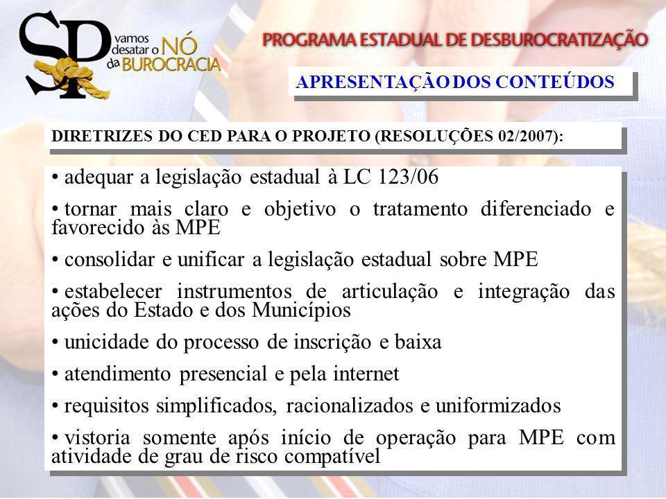 adequar a legislação estadual à LC 123/06