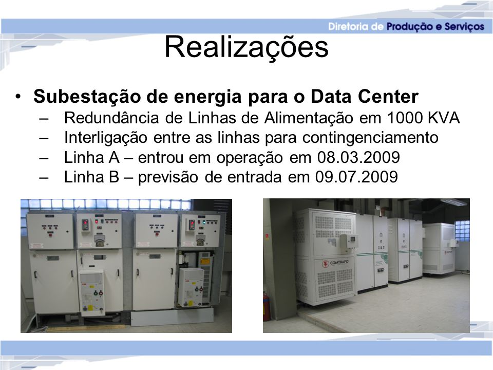 Realizações Subestação de energia para o Data Center