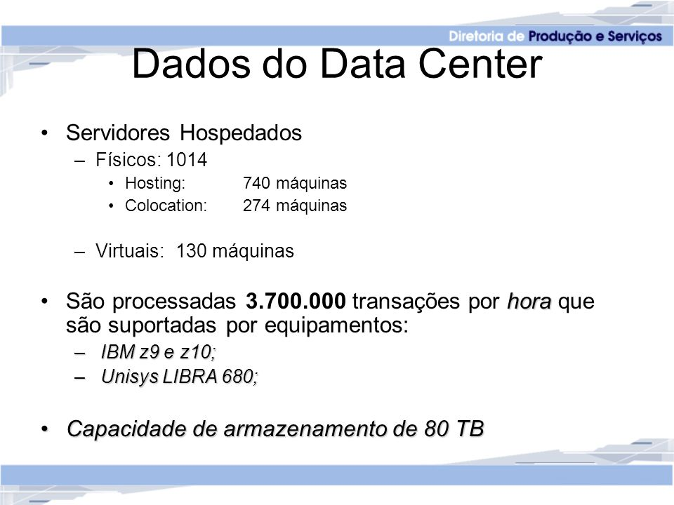 Dados do Data Center Servidores Hospedados