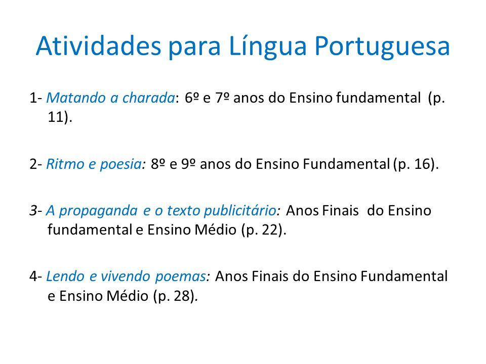 Atividades para Língua Portuguesa