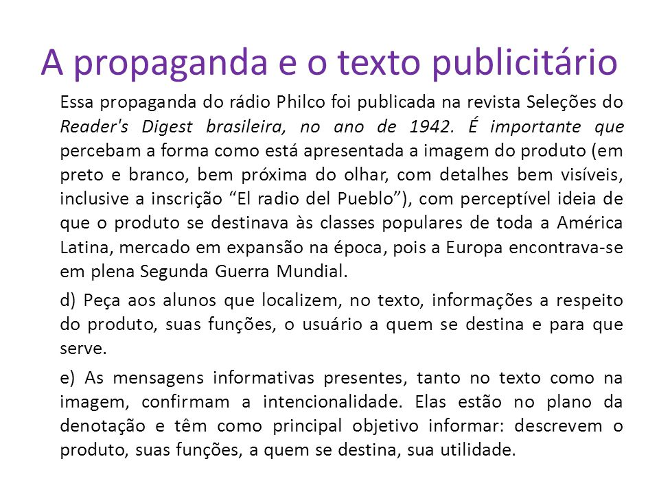 A propaganda e o texto publicitário
