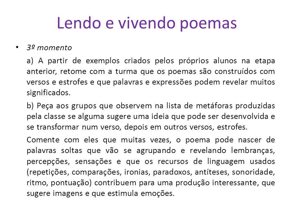 Lendo e vivendo poemas 3º momento