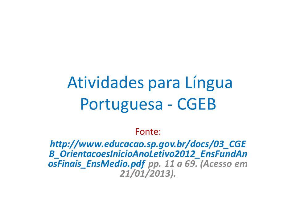 Atividades para Língua Portuguesa - CGEB