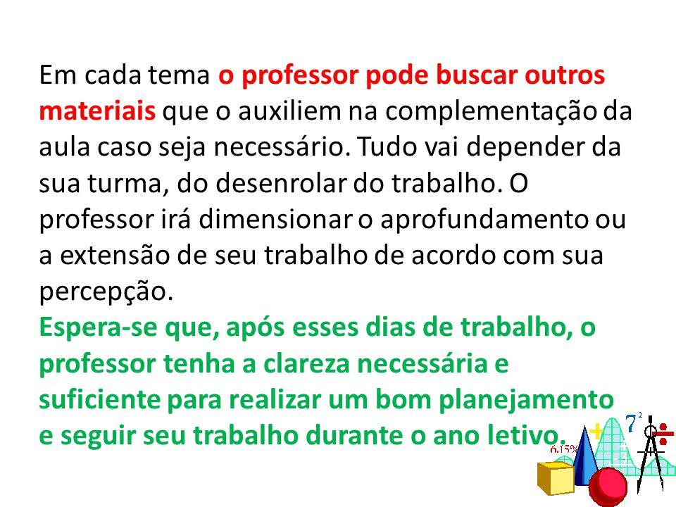 Em cada tema o professor pode buscar outros materiais que o auxiliem na complementação da aula caso seja necessário.