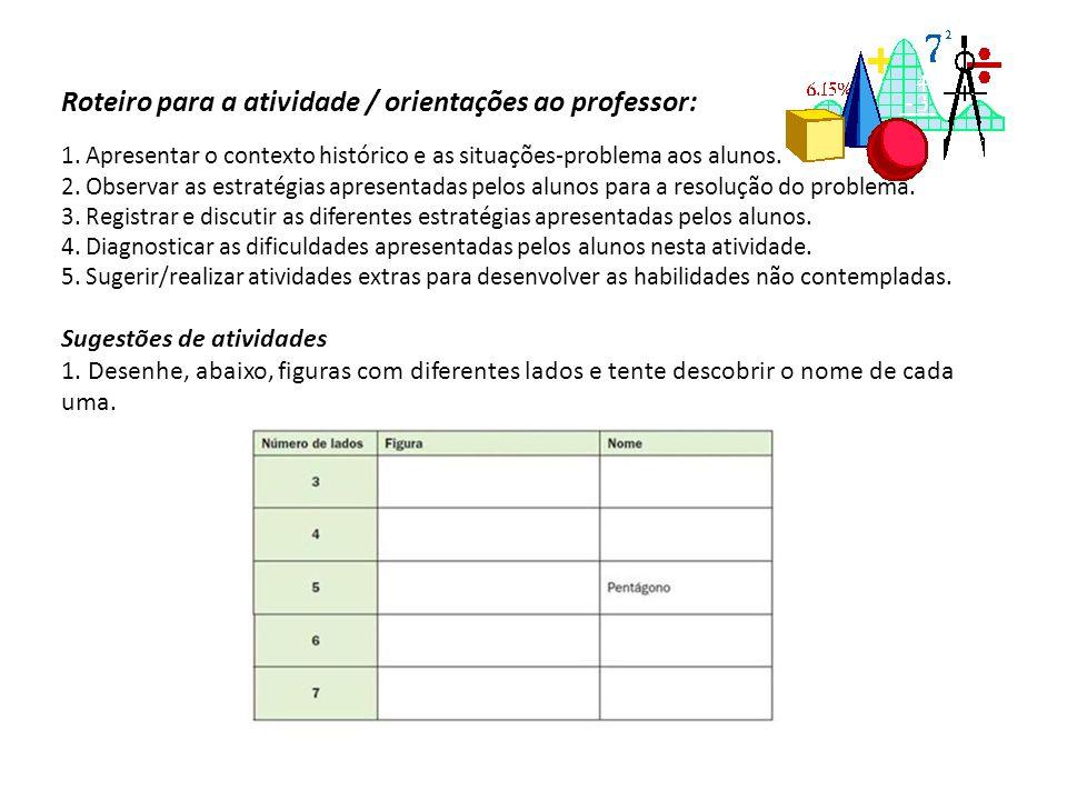 Roteiro para a atividade / orientações ao professor: 1