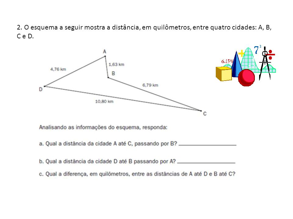 2. O esquema a seguir mostra a distância, em quilômetros, entre quatro cidades: A, B, C e D.