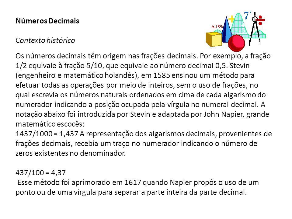 Números Decimais Contexto histórico Os números decimais têm origem nas frações decimais.