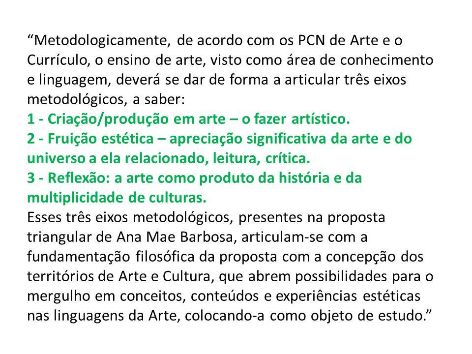 Metodologicamente, de acordo com os PCN de Arte e o Currículo, o ensino de arte, visto como área de conhecimento e linguagem, deverá se dar de forma a articular três eixos metodológicos, a saber: 1 - Criação/produção em arte – o fazer artístico.