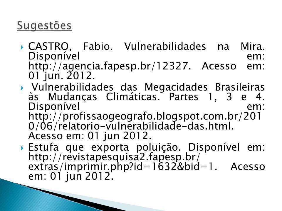 Sugestões CASTRO, Fabio. Vulnerabilidades na Mira. Disponível em: http://agencia.fapesp.br/12327. Acesso em: 01 jun. 2012.
