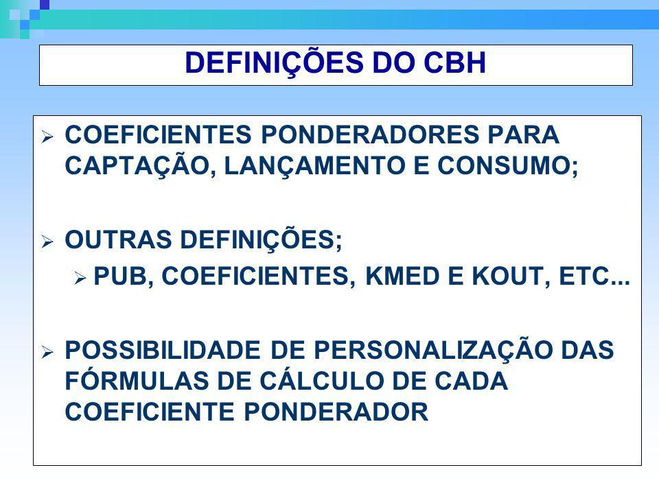 DEFINIÇÕES DO CBH COEFICIENTES PONDERADORES PARA CAPTAÇÃO, LANÇAMENTO E CONSUMO; OUTRAS DEFINIÇÕES;