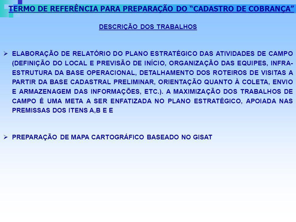 TERMO DE REFERÊNCIA PARA PREPARAÇÃO DO CADASTRO DE COBRANÇA