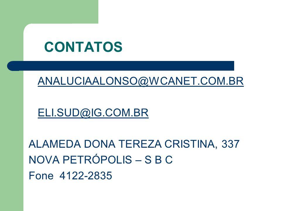 CONTATOS ANALUCIAALONSO@WCANET.COM.BR ELI.SUD@IG.COM.BR