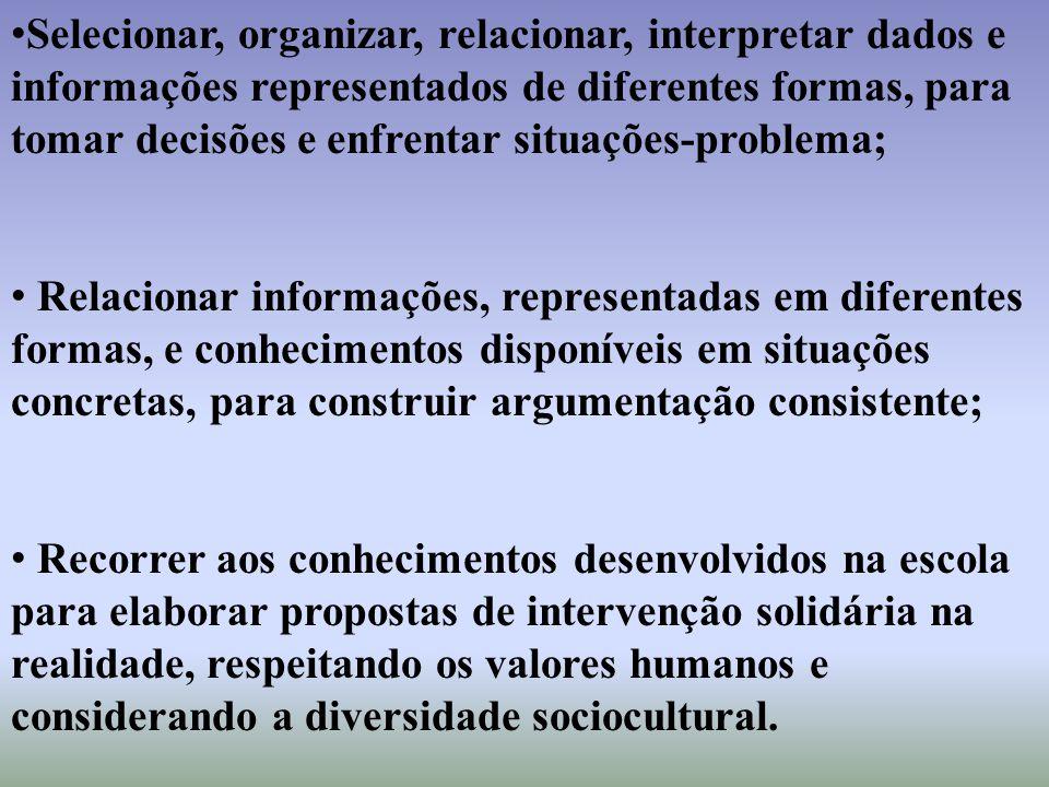 Selecionar, organizar, relacionar, interpretar dados e informações representados de diferentes formas, para tomar decisões e enfrentar situações-problema;