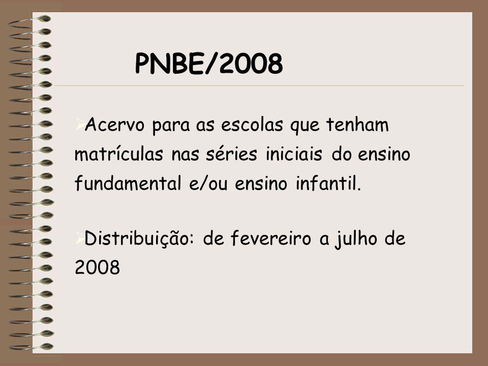 PNBE/2008 Acervo para as escolas que tenham matrículas nas séries iniciais do ensino fundamental e/ou ensino infantil.
