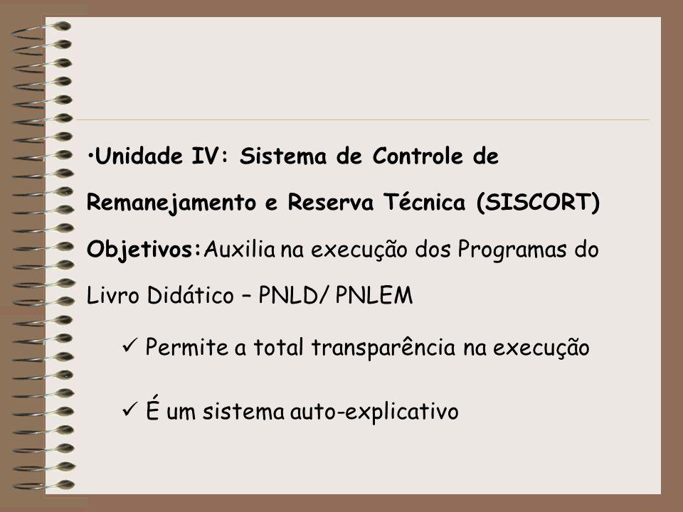 Unidade IV: Sistema de Controle de Remanejamento e Reserva Técnica (SISCORT) Objetivos:Auxilia na execução dos Programas do Livro Didático – PNLD/ PNLEM