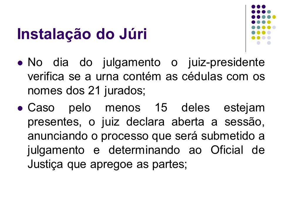 Instalação do Júri No dia do julgamento o juiz-presidente verifica se a urna contém as cédulas com os nomes dos 21 jurados;