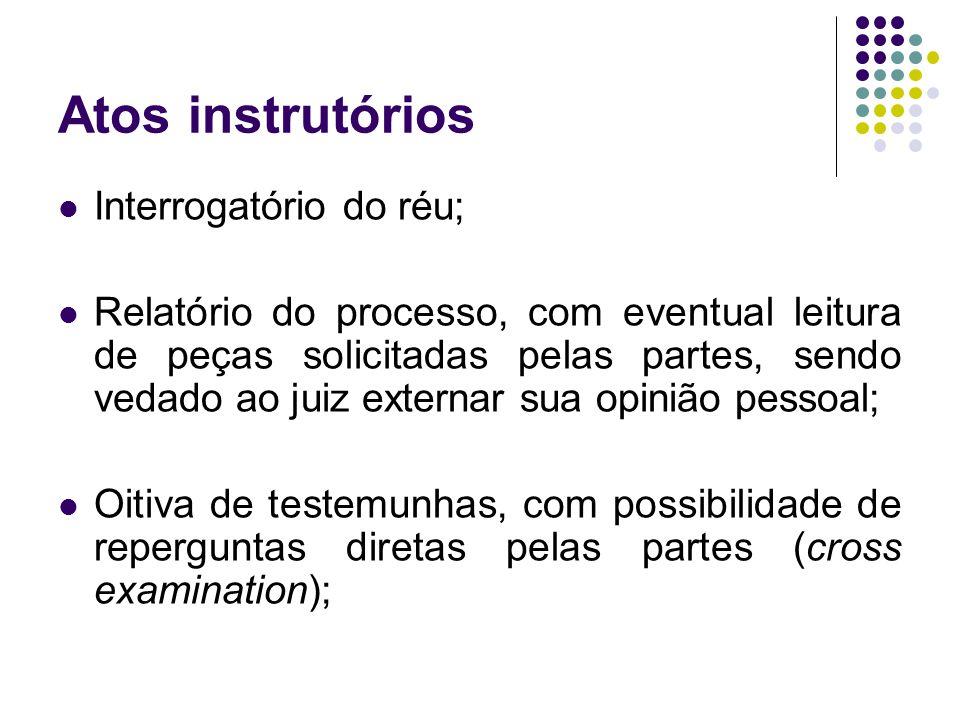Atos instrutórios Interrogatório do réu;