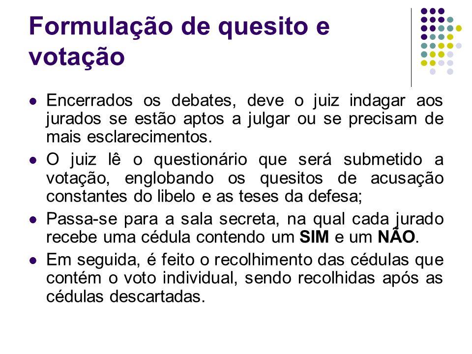 Formulação de quesito e votação
