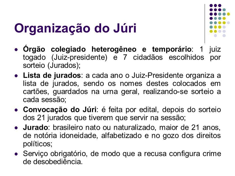 Organização do Júri Órgão colegiado heterogêneo e temporário: 1 juiz togado (Juiz-presidente) e 7 cidadãos escolhidos por sorteio (Jurados);