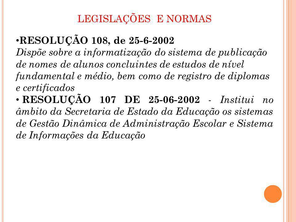 LEGISLAÇÕES E NORMAS RESOLUÇÃO 108, de 25-6-2002.