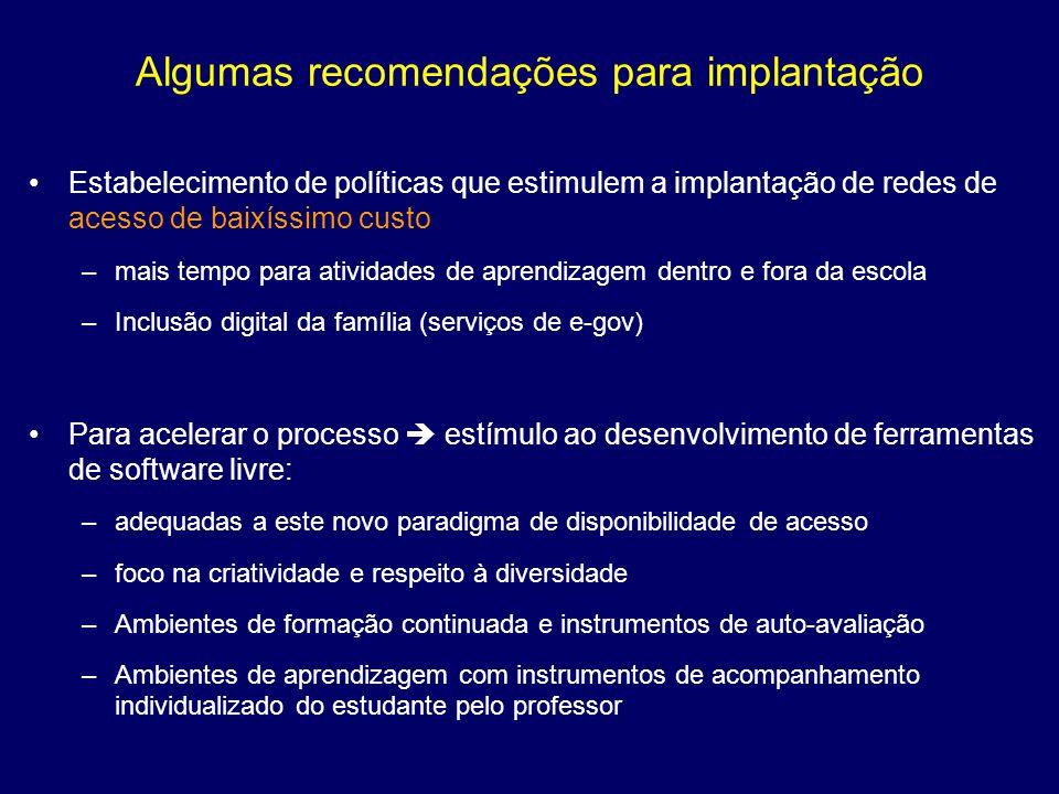 Algumas recomendações para implantação
