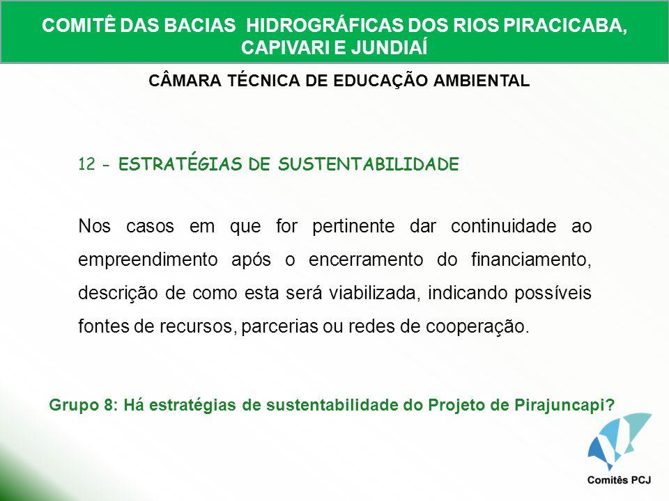 Grupo 8: Há estratégias de sustentabilidade do Projeto de Pirajuncapi