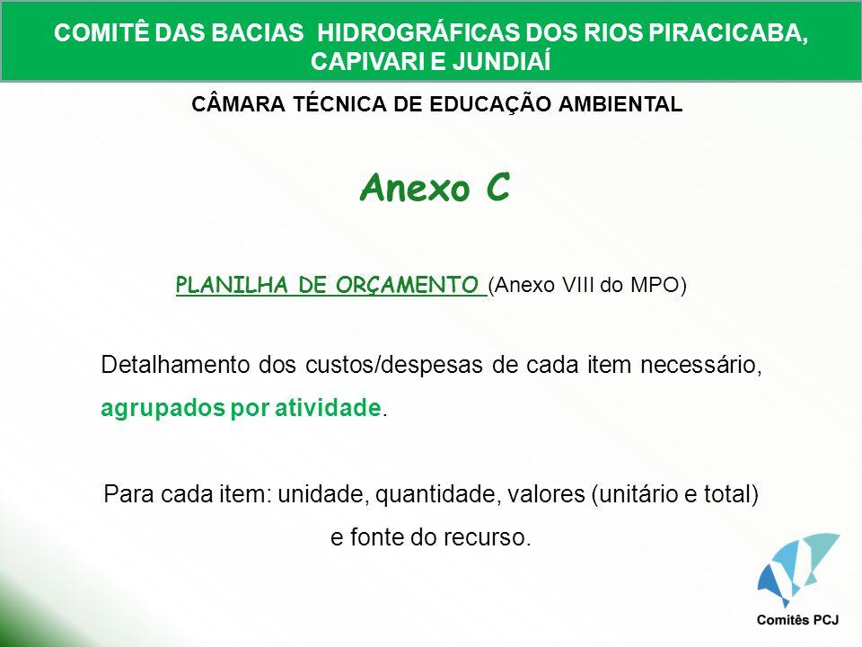 PLANILHA DE ORÇAMENTO (Anexo VIII do MPO)