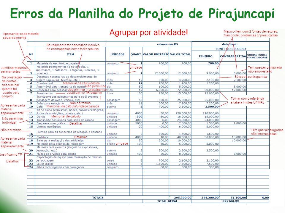 Erros da Planilha do Projeto de Pirajuncapi