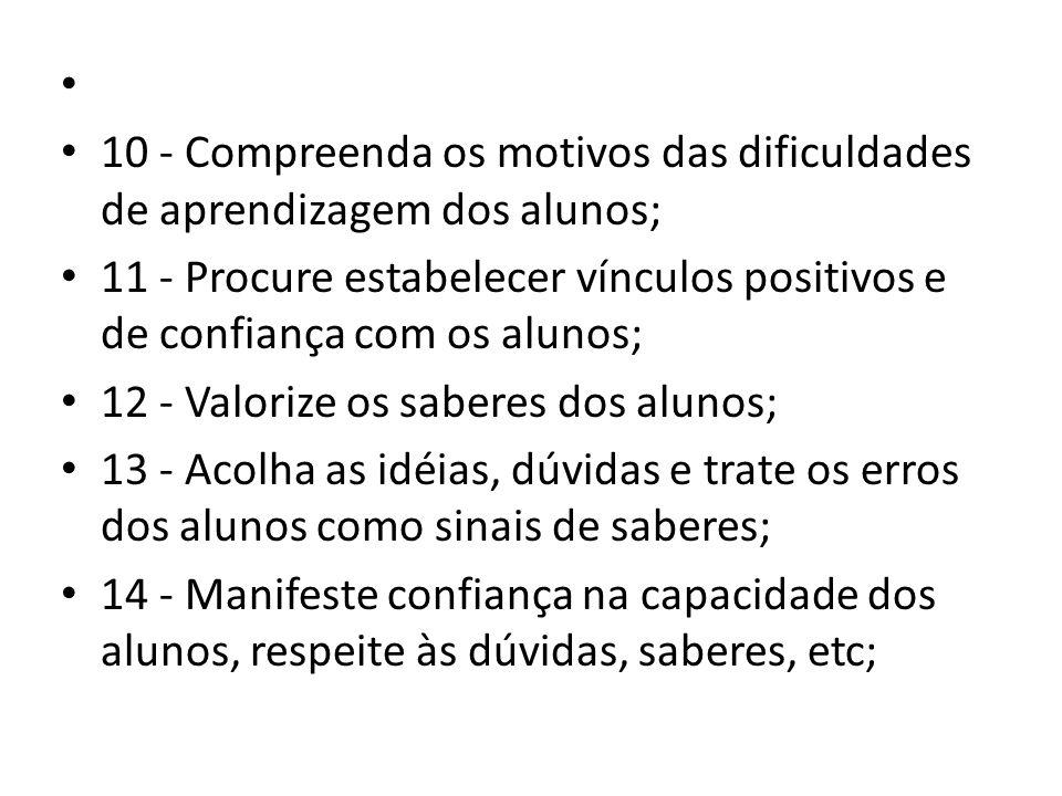 10 - Compreenda os motivos das dificuldades de aprendizagem dos alunos;