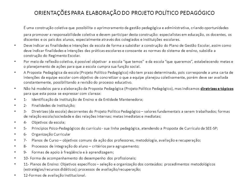 ORIENTAÇÕES PARA ELABORAÇÃO DO PROJETO POLÍTICO PEDAGÓGICO