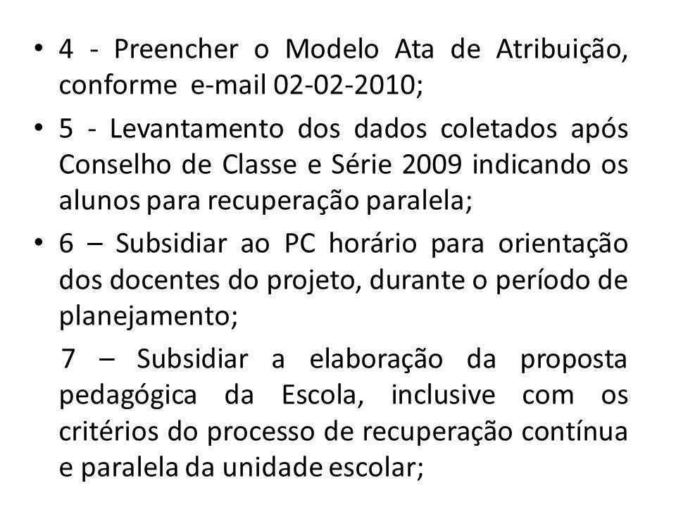 4 - Preencher o Modelo Ata de Atribuição, conforme e-mail 02-02-2010;
