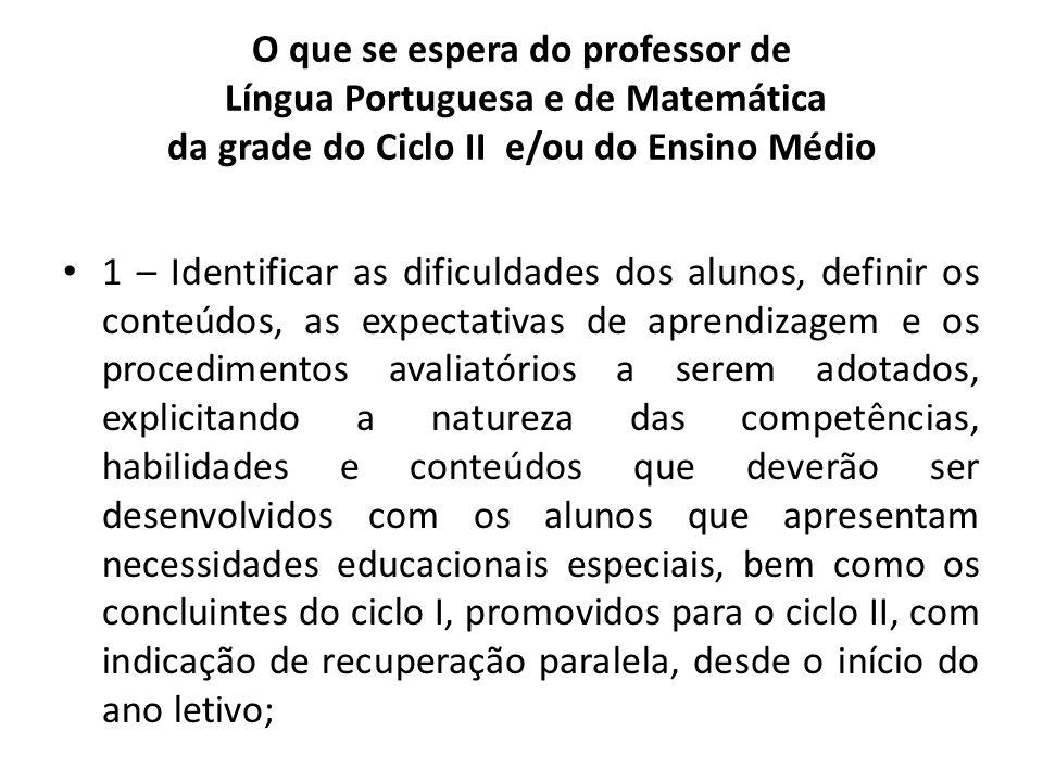O que se espera do professor de Língua Portuguesa e de Matemática da grade do Ciclo II e/ou do Ensino Médio