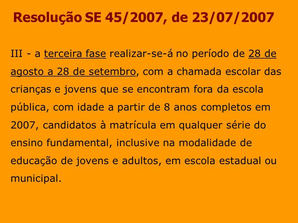Resolução SE 45/2007, de 23/07/2007 III - a terceira fase realizar-se-á no período de 28 de agosto a 28 de setembro, com a chamada escolar das.