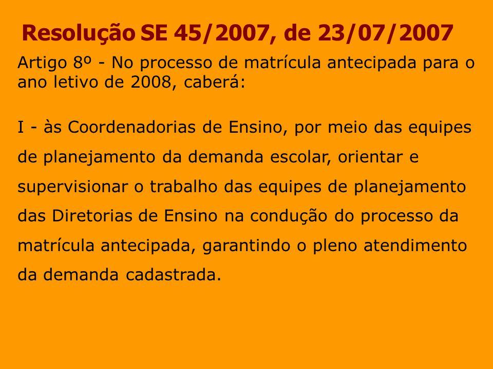 Resolução SE 45/2007, de 23/07/2007 Artigo 8º - No processo de matrícula antecipada para o ano letivo de 2008, caberá: