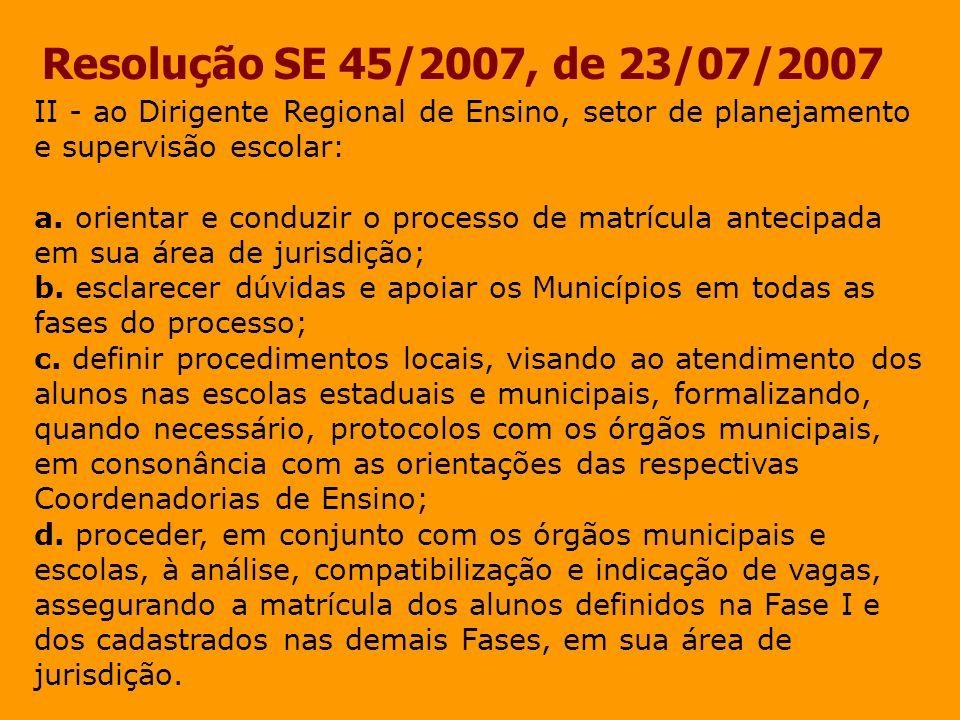 Resolução SE 45/2007, de 23/07/2007 II - ao Dirigente Regional de Ensino, setor de planejamento e supervisão escolar: