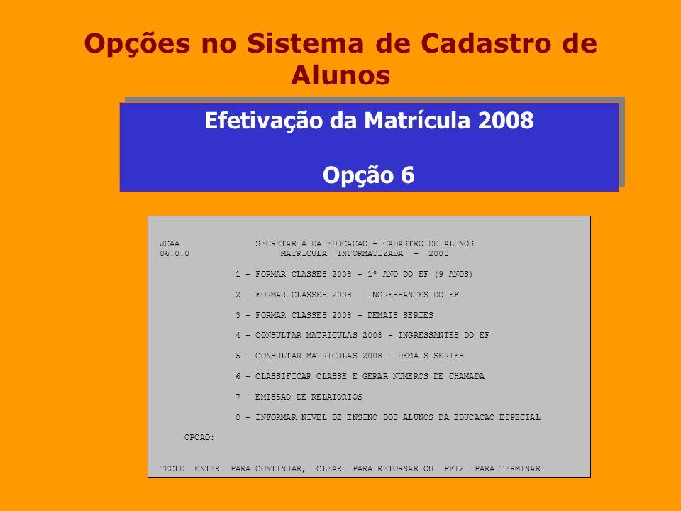 Opções no Sistema de Cadastro de Alunos Efetivação da Matrícula 2008