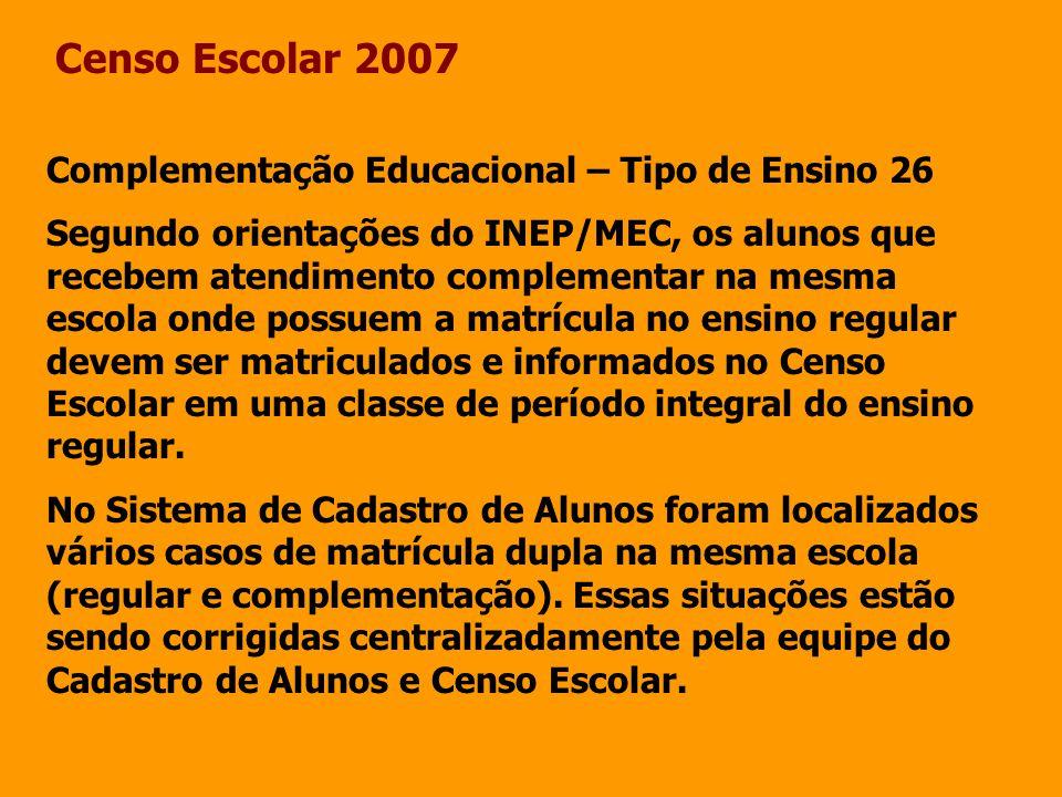 Censo Escolar 2007 Complementação Educacional – Tipo de Ensino 26