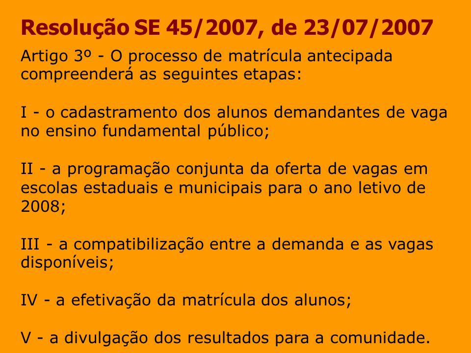 Resolução SE 45/2007, de 23/07/2007 Artigo 3º - O processo de matrícula antecipada compreenderá as seguintes etapas:
