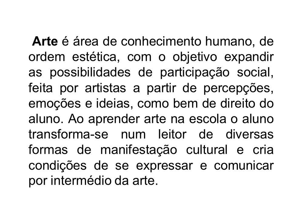 Arte é área de conhecimento humano, de ordem estética, com o objetivo expandir as possibilidades de participação social, feita por artistas a partir de percepções, emoções e ideias, como bem de direito do aluno.