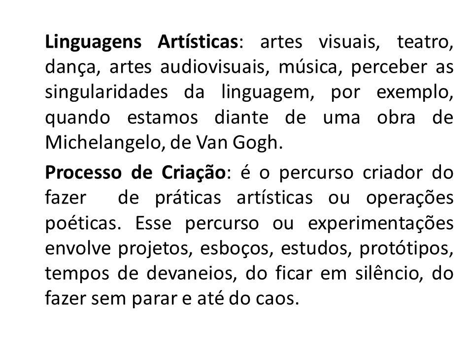 Linguagens Artísticas: artes visuais, teatro, dança, artes audiovisuais, música, perceber as singularidades da linguagem, por exemplo, quando estamos diante de uma obra de Michelangelo, de Van Gogh.