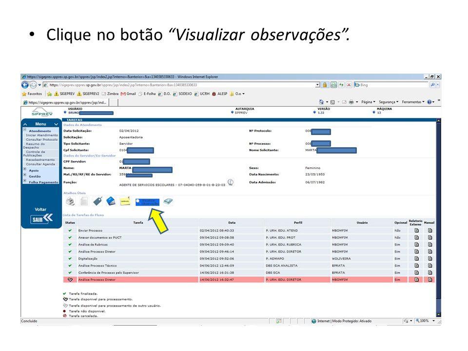 Clique no botão Visualizar observações .
