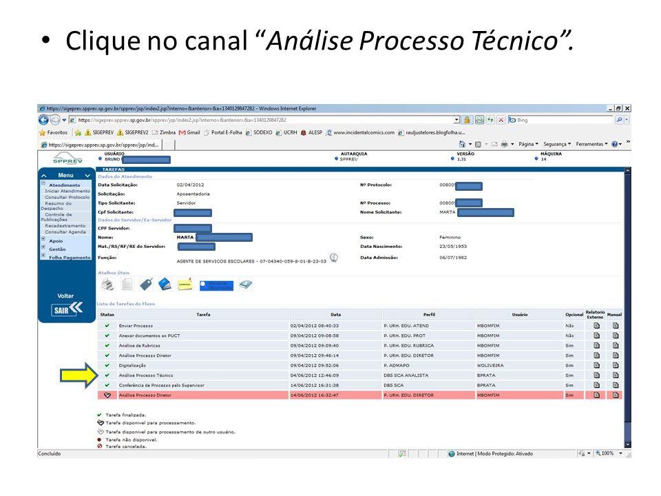 Clique no canal Análise Processo Técnico .