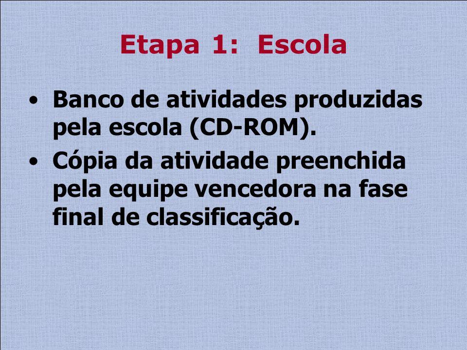Etapa 1: Escola Banco de atividades produzidas pela escola (CD-ROM).