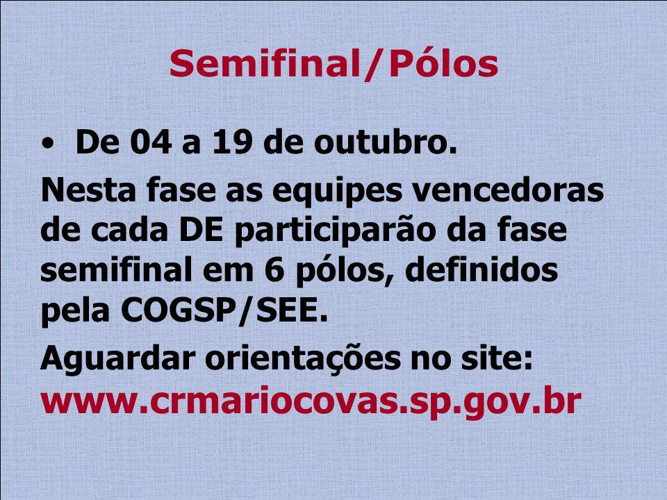 Semifinal/Pólos De 04 a 19 de outubro.