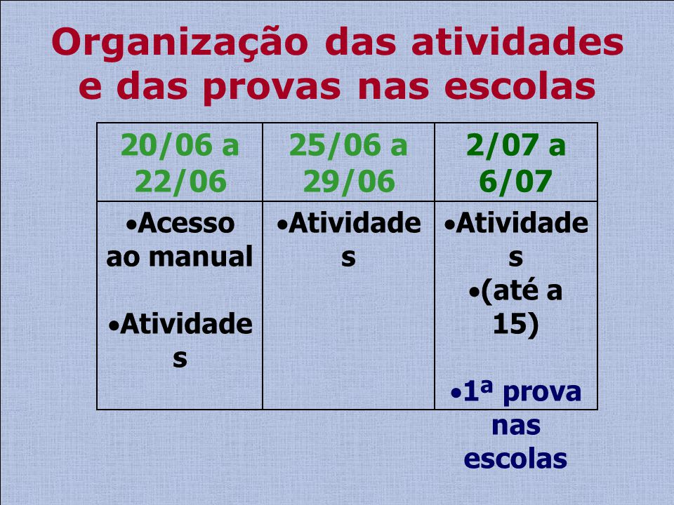 Organização das atividades e das provas nas escolas