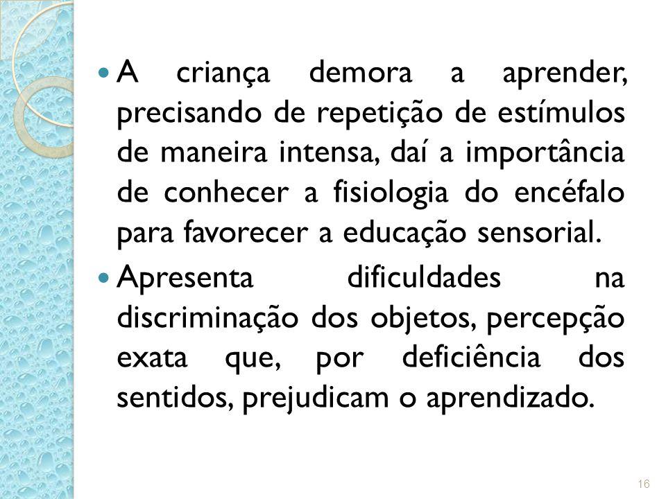 A criança demora a aprender, precisando de repetição de estímulos de maneira intensa, daí a importância de conhecer a fisiologia do encéfalo para favorecer a educação sensorial.
