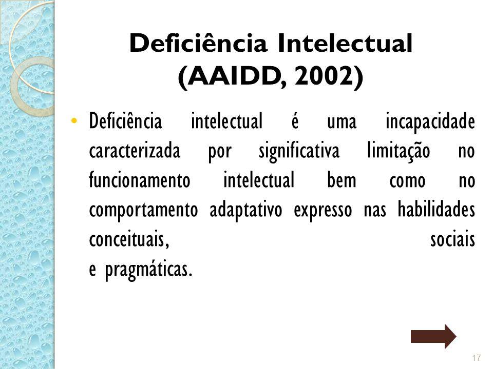 Deficiência Intelectual (AAIDD, 2002)