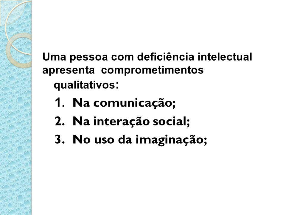 Na comunicação; Na interação social; No uso da imaginação;