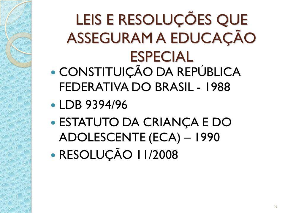 LEIS E RESOLUÇÕES QUE ASSEGURAM A EDUCAÇÃO ESPECIAL